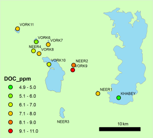 Lake water dissolved organic carbon (DOC) measured in lakes visited in August 2014. DOC is a useful measure of carbon dynamics between catchments, soils and lake water.